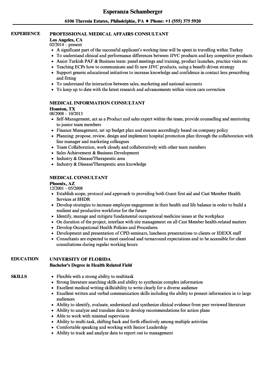 medical consultant resume samples