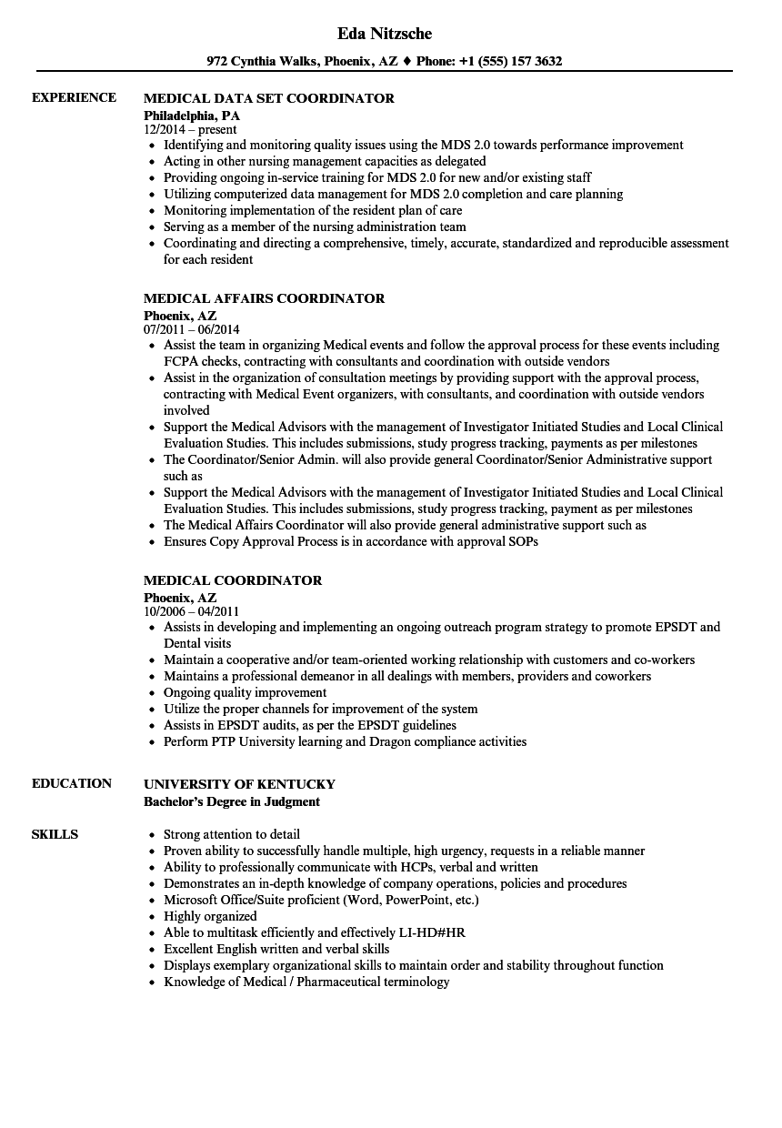 Medical Coordinator Resume Samples Velvet Jobs