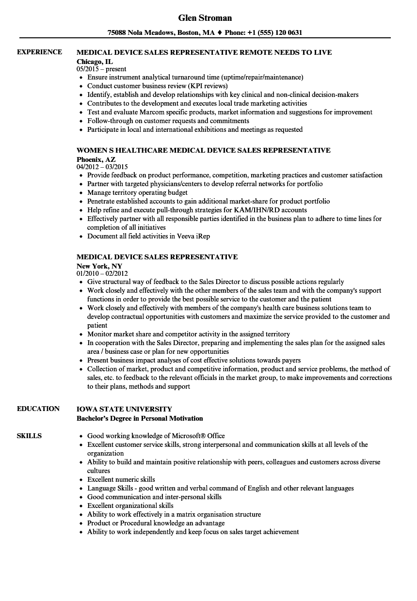 medical device sales representative resume samples