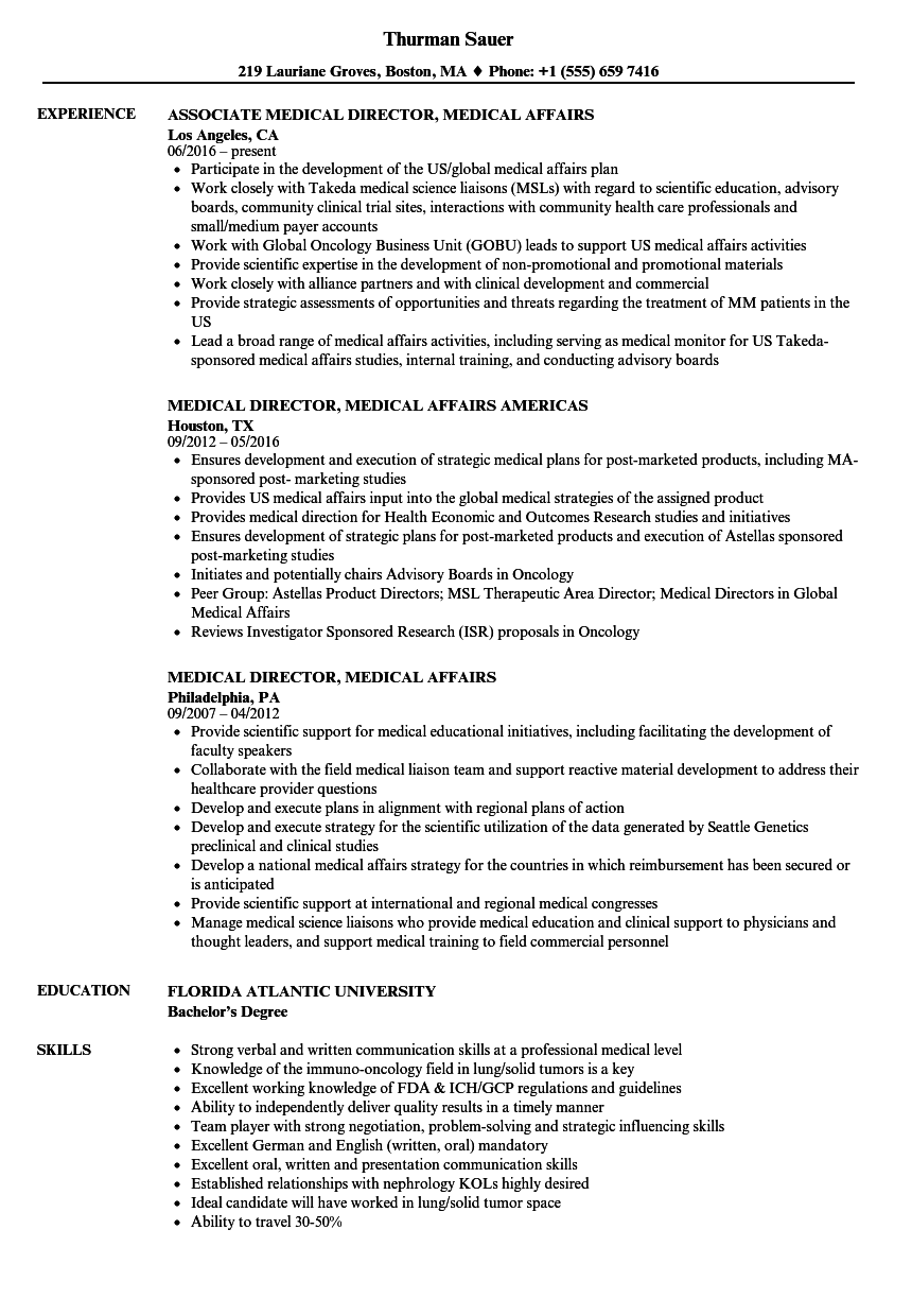 Medical Director, Medical Affairs Resume Samples | Velvet Jobs