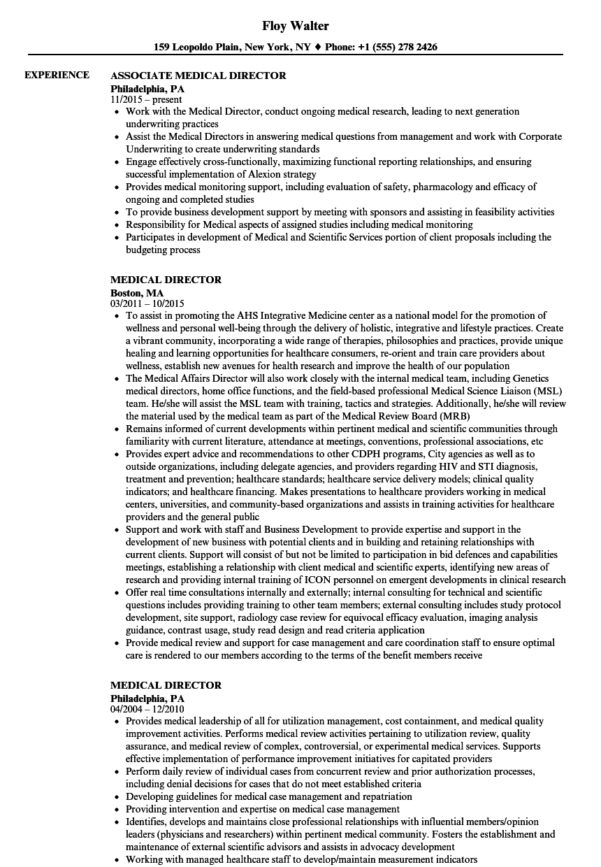 medical director resume samples