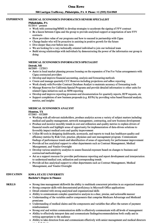 Medical Economics Resume Samples Velvet Jobs