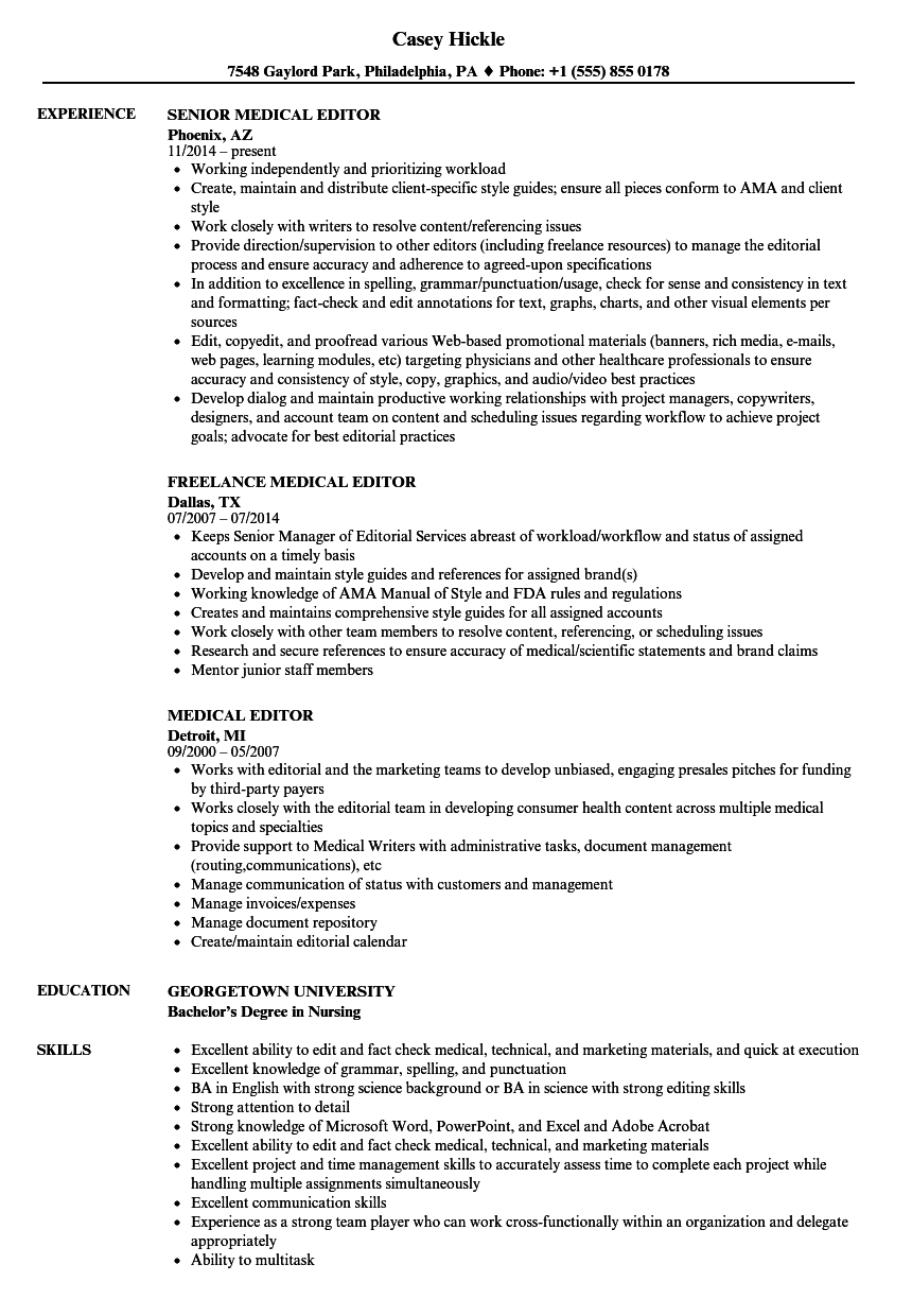 medical editor resume samples