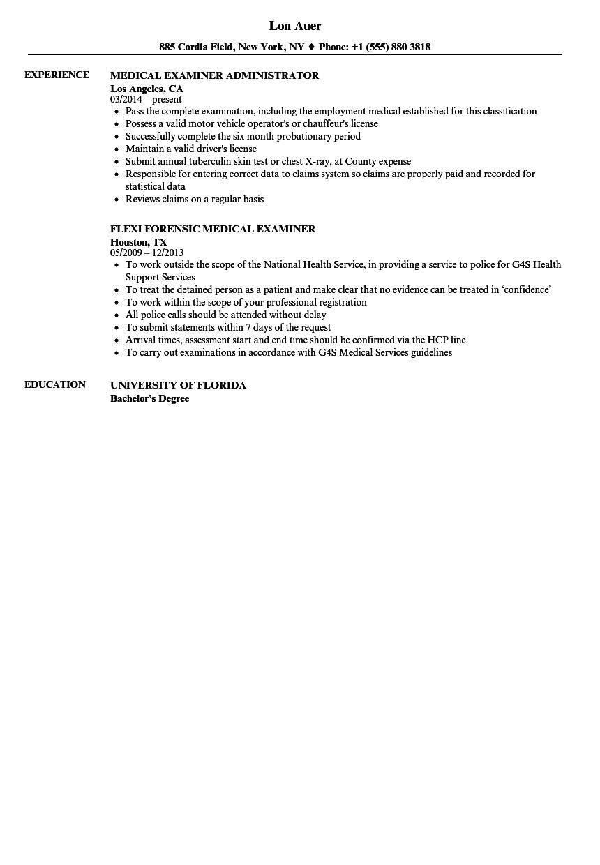 Medical Examiner Resume Samples Velvet Jobs
