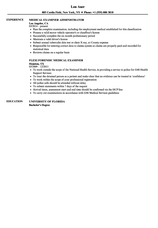 medical examiner resume samples