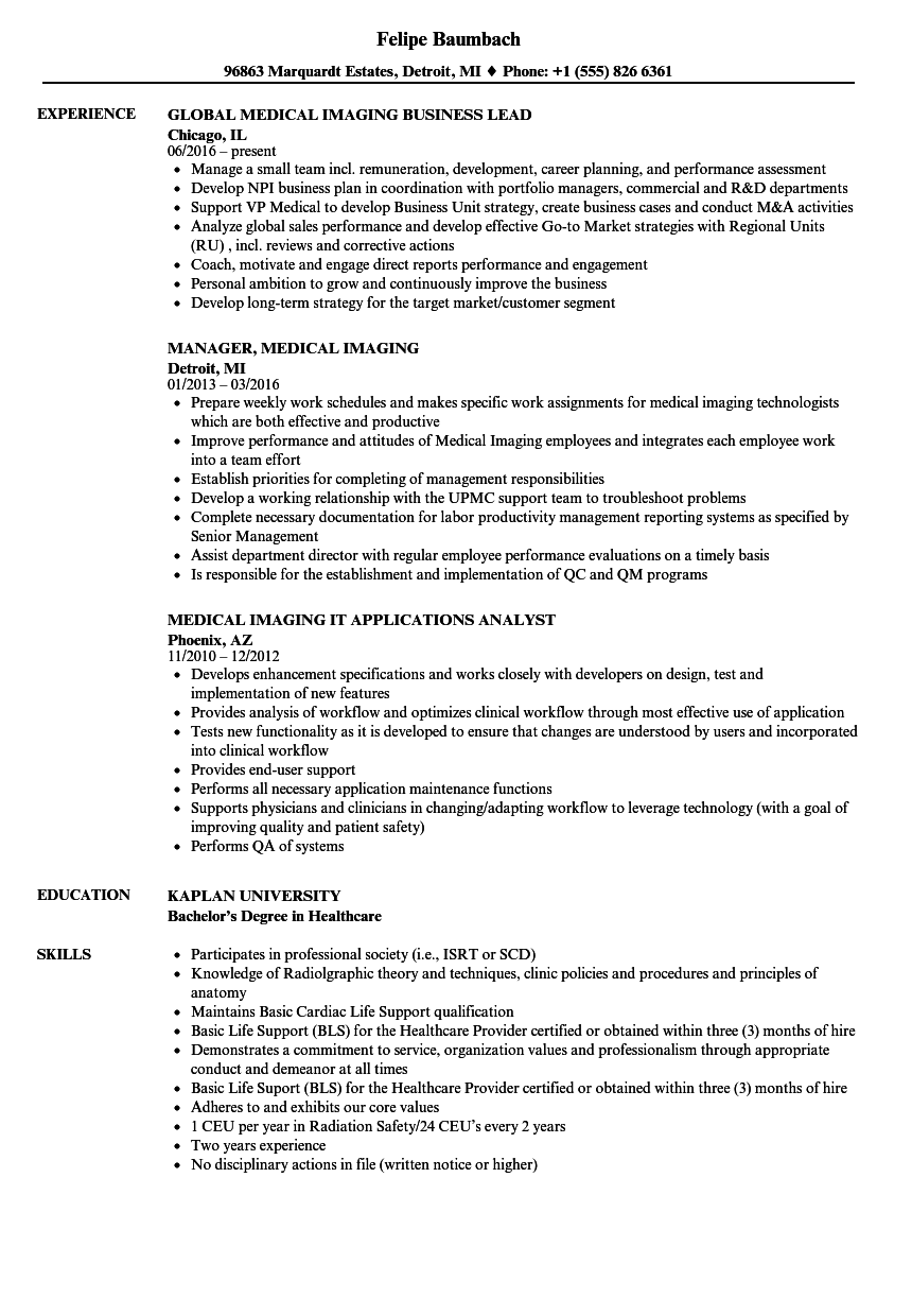 medical imaging resume samples
