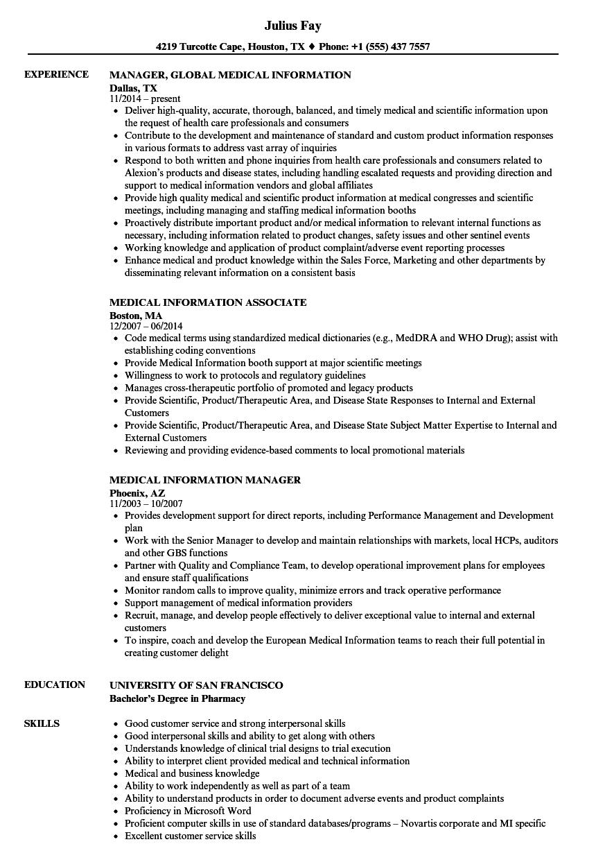 medical information resume samples