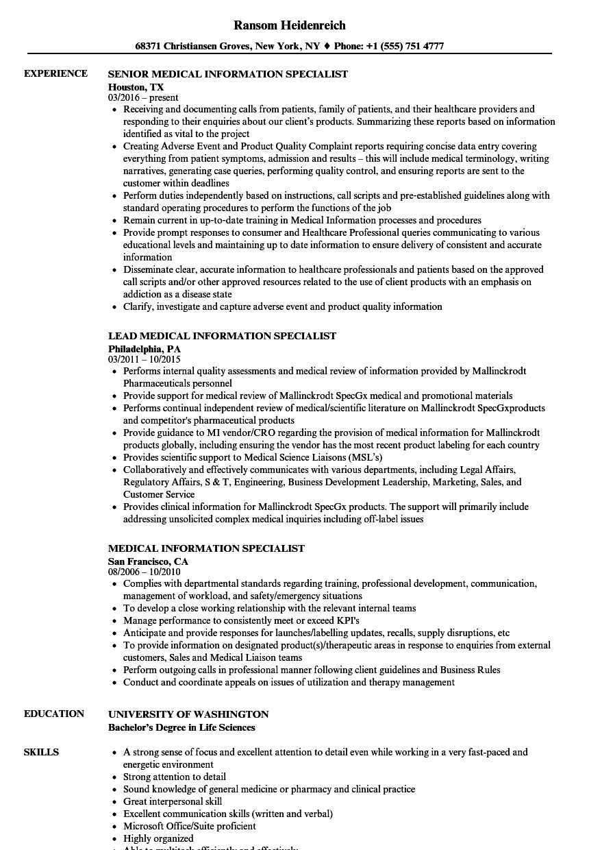 medical information specialist resume samples