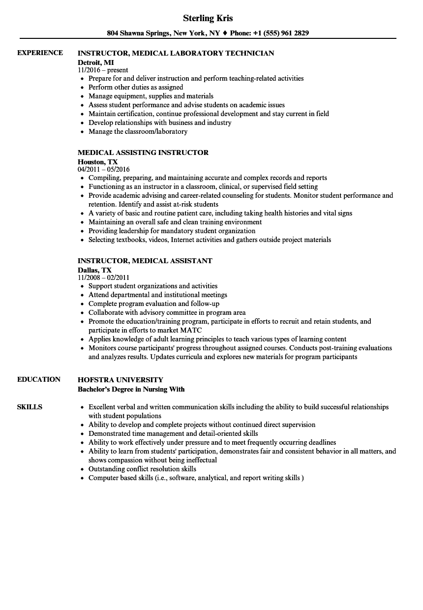 Medical Instructor Resume Samples Velvet Jobs
