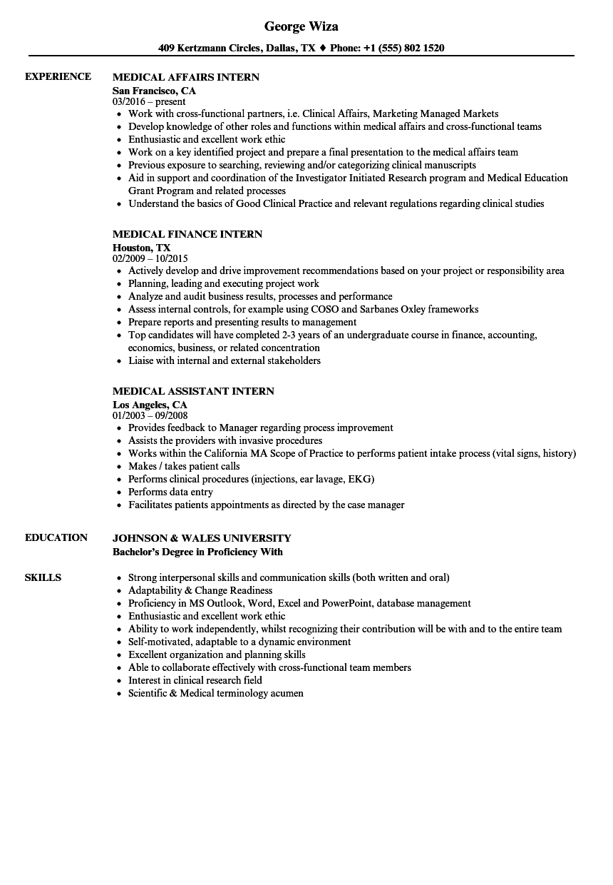 download medical intern resume sample as image file - Internship Resume Examples
