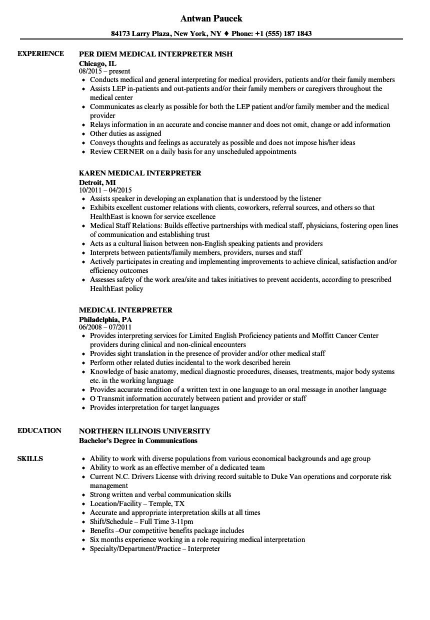 Medical Interpreter Resume Samples | Velvet Jobs