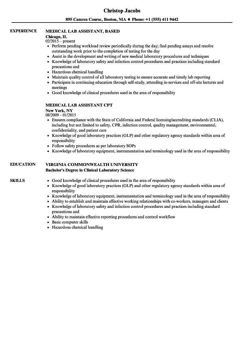 Medical Lab Assistant Resume Samples Velvet Jobs