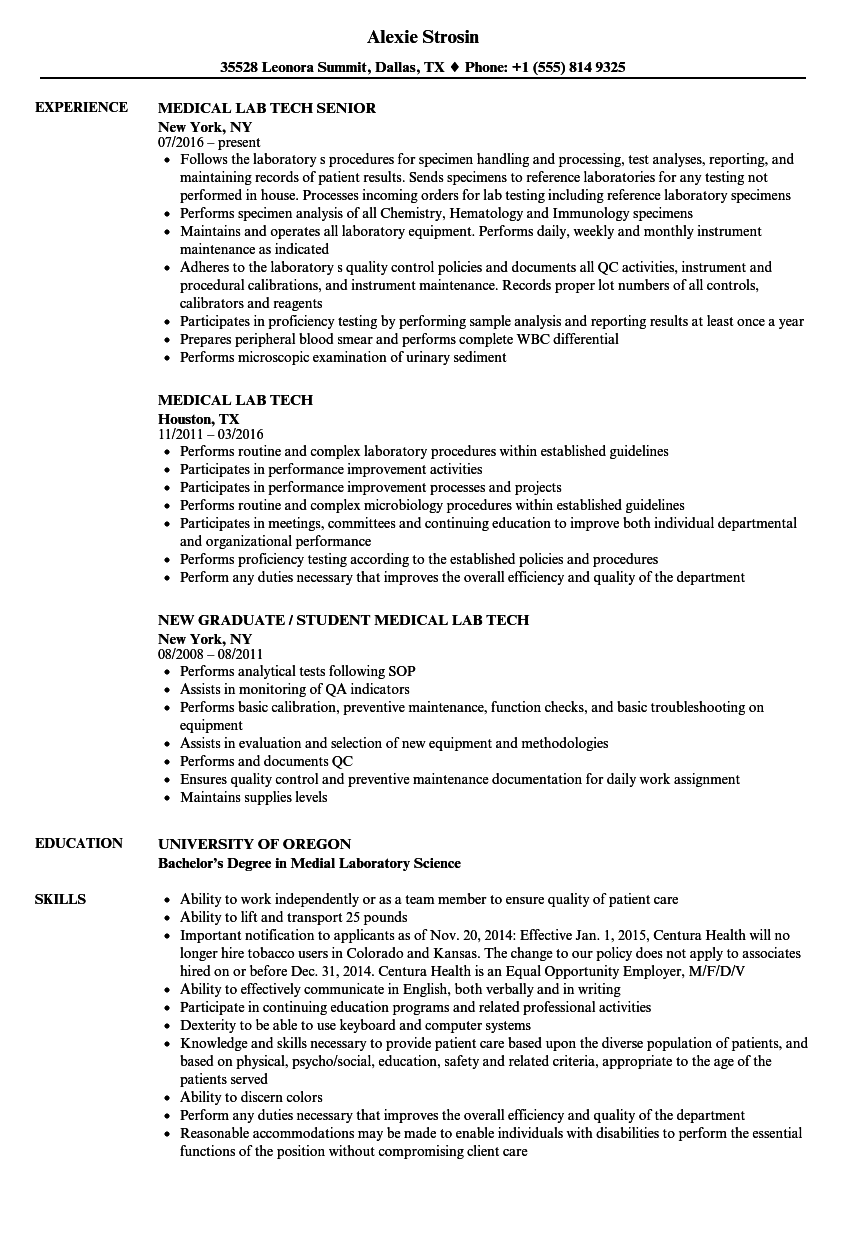 medical lab tech resume samples velvet jobs