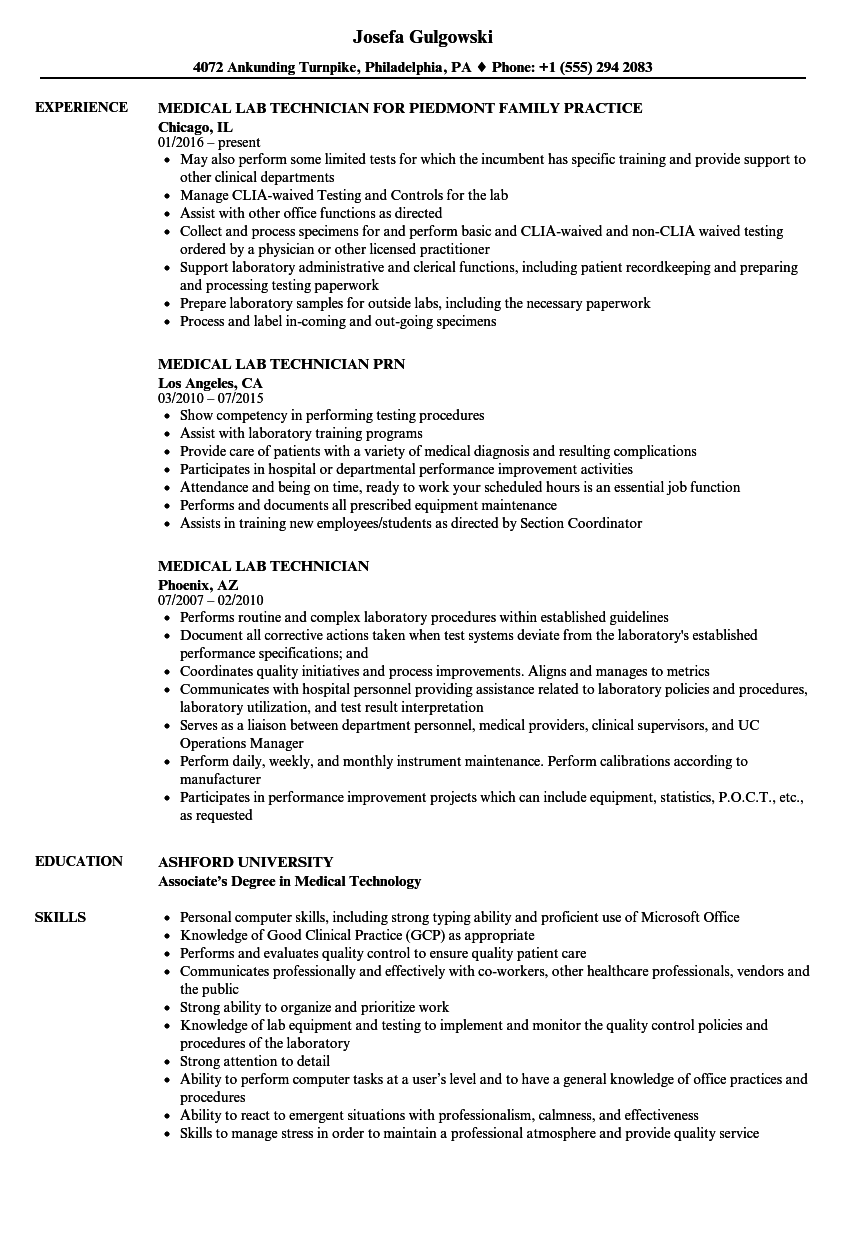 Medical Lab Technician Resume Samples | Velvet Jobs