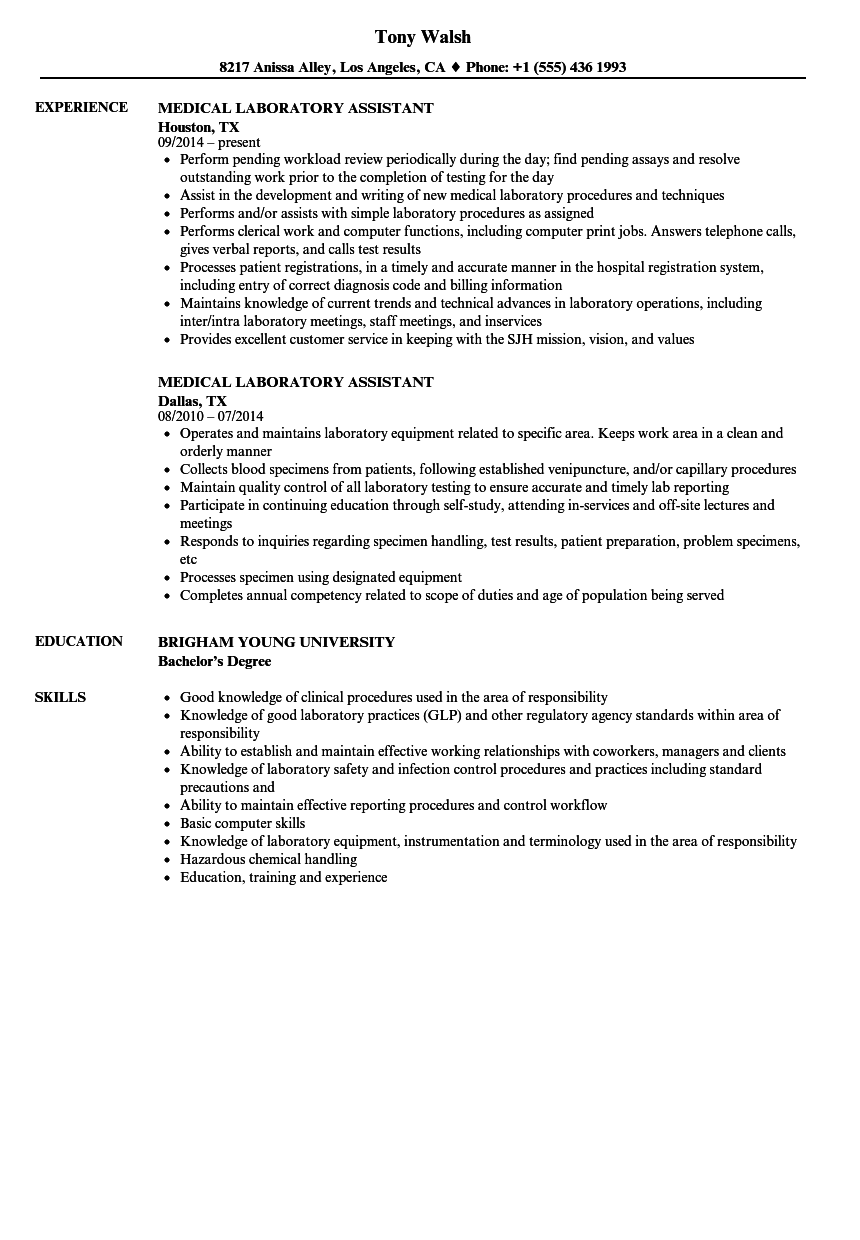 Medical Laboratory Assistant Resume Samples Velvet Jobs