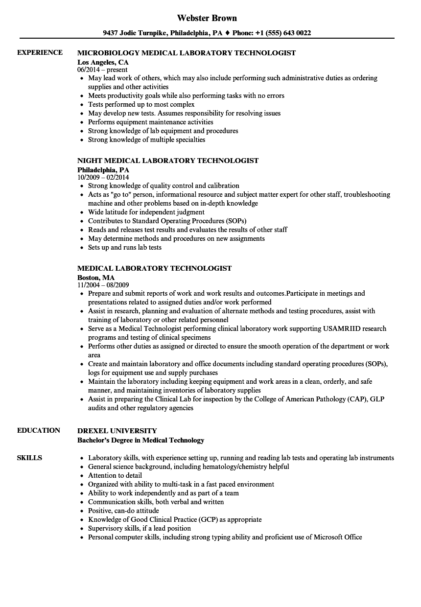 Medical Laboratory Technologist Resume Samples | Velvet Jobs