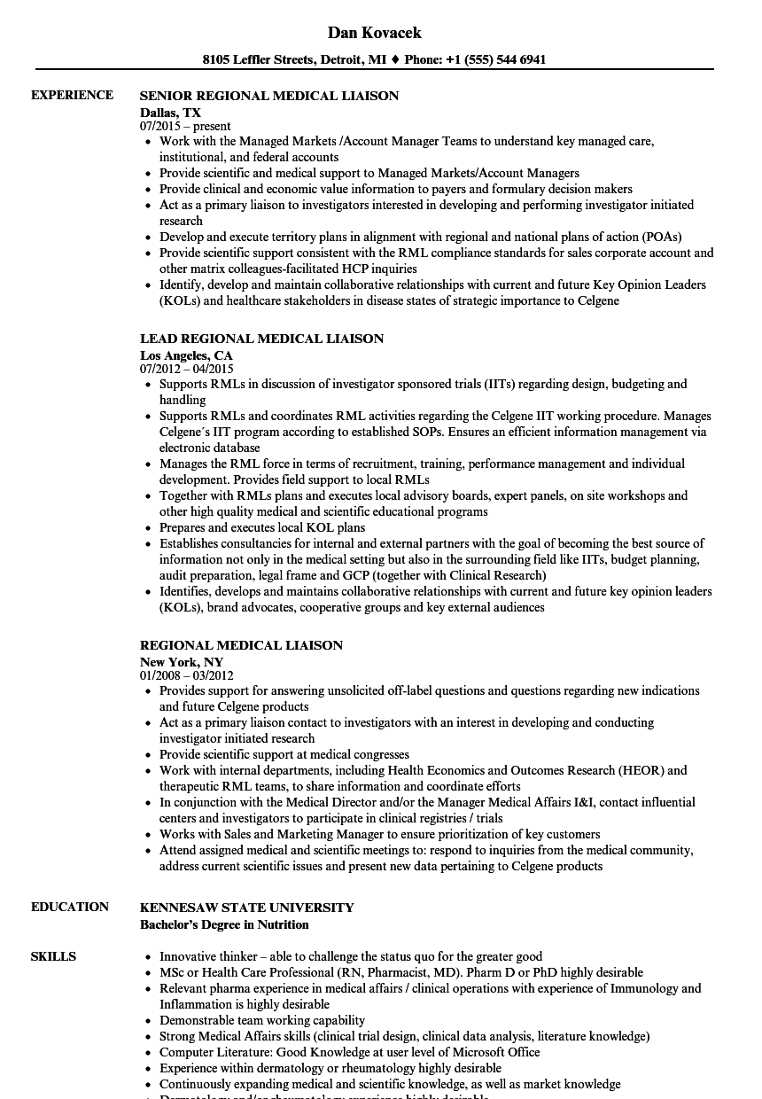 Medical Liaison Resume Samples Velvet Jobs