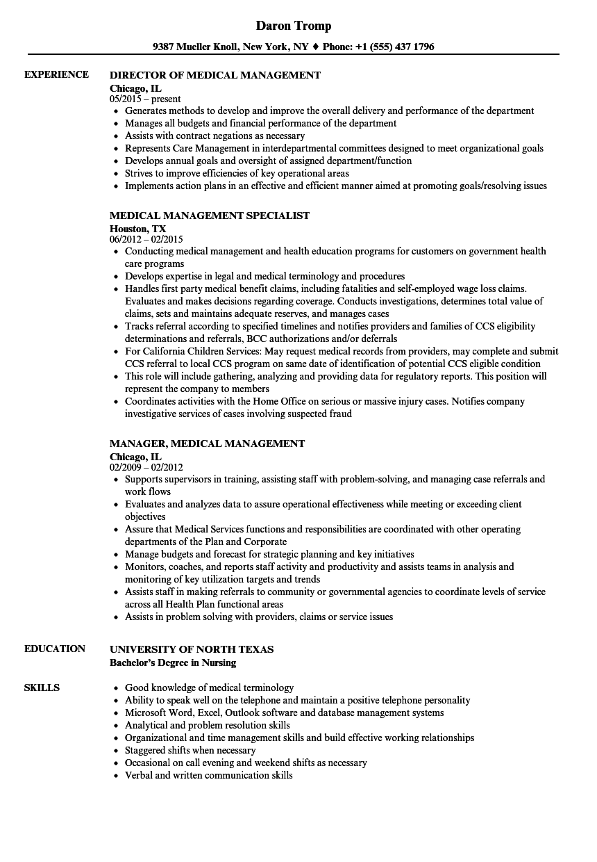 Medical Management Resume Samples Velvet Jobs