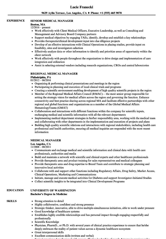 medical manager resume samples