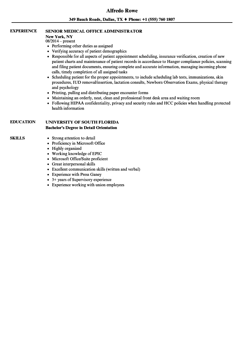 medical office administrator resume samples