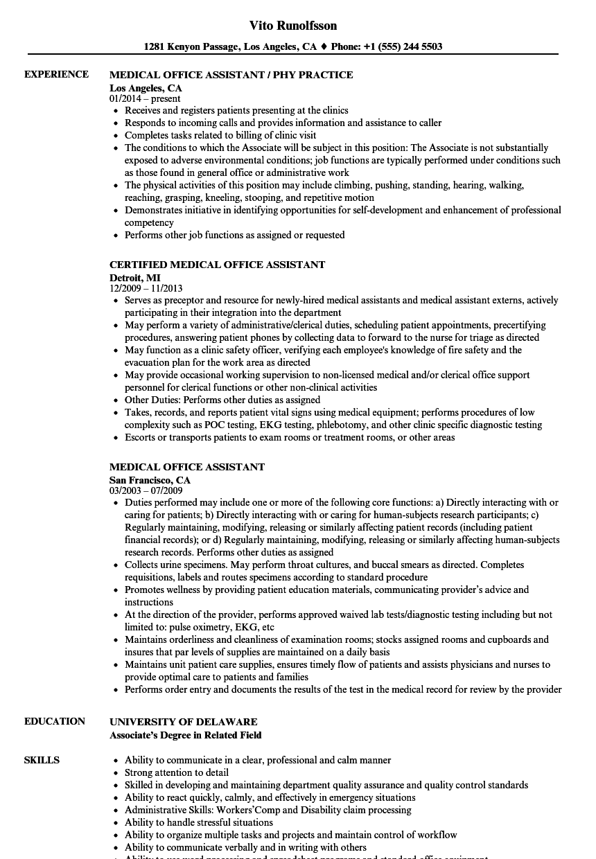 download medical office assistant resume sample as image file