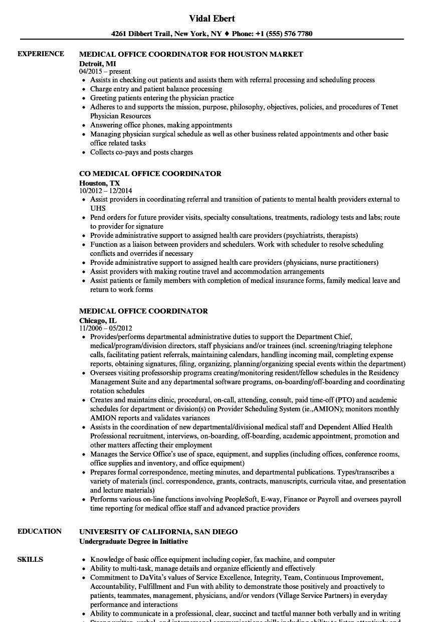 Medical Office Coordinator Resume Samples