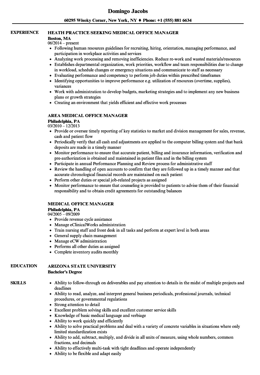 resume examples medical office manager