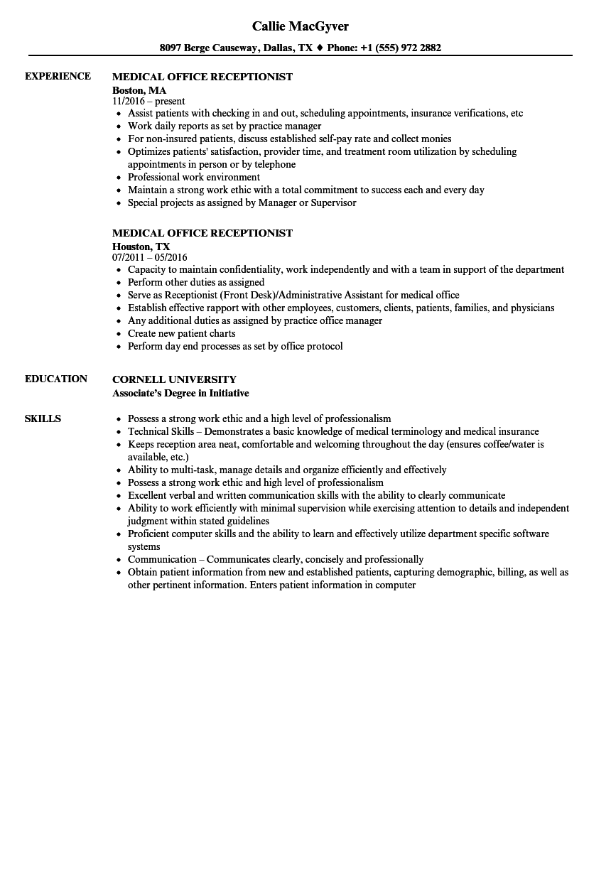 Medical Office Receptionist Resume Samples | Velvet Jobs