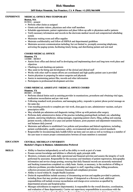 medical office resume samples
