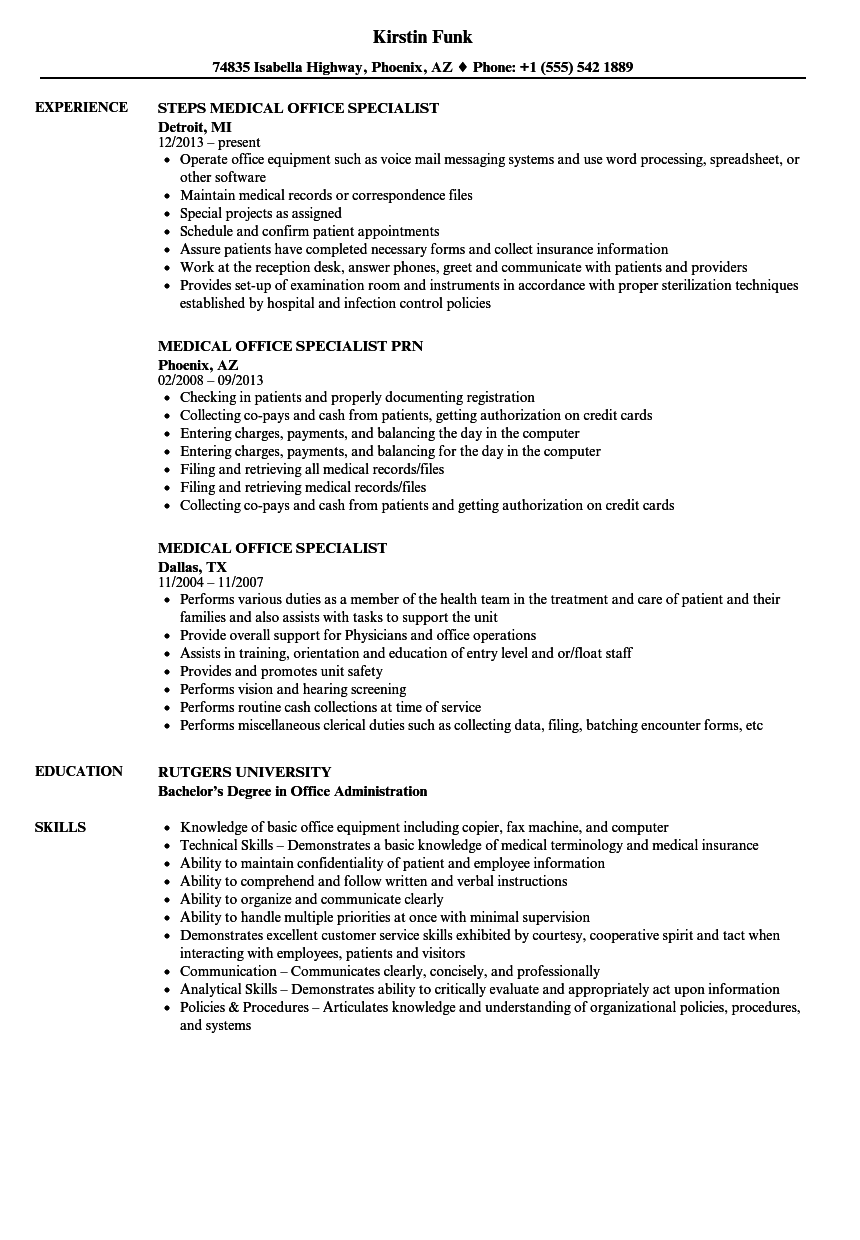 Medical Office Specialist Resume Samples Velvet Jobs