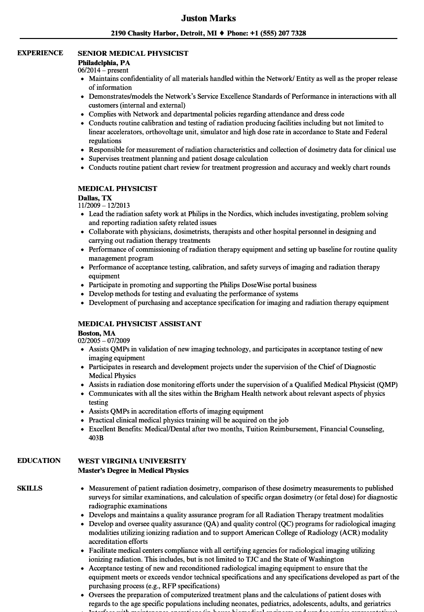 medical physicist resume samples