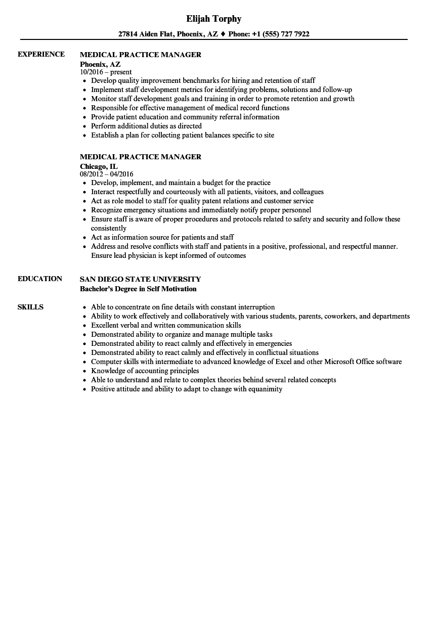 Medical Practice Manager Resume Samples | Velvet Jobs