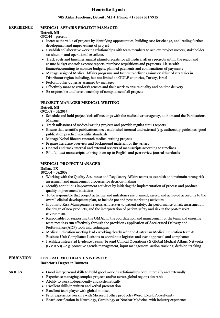 Download Medical Project Manager Resume Sample As Image File