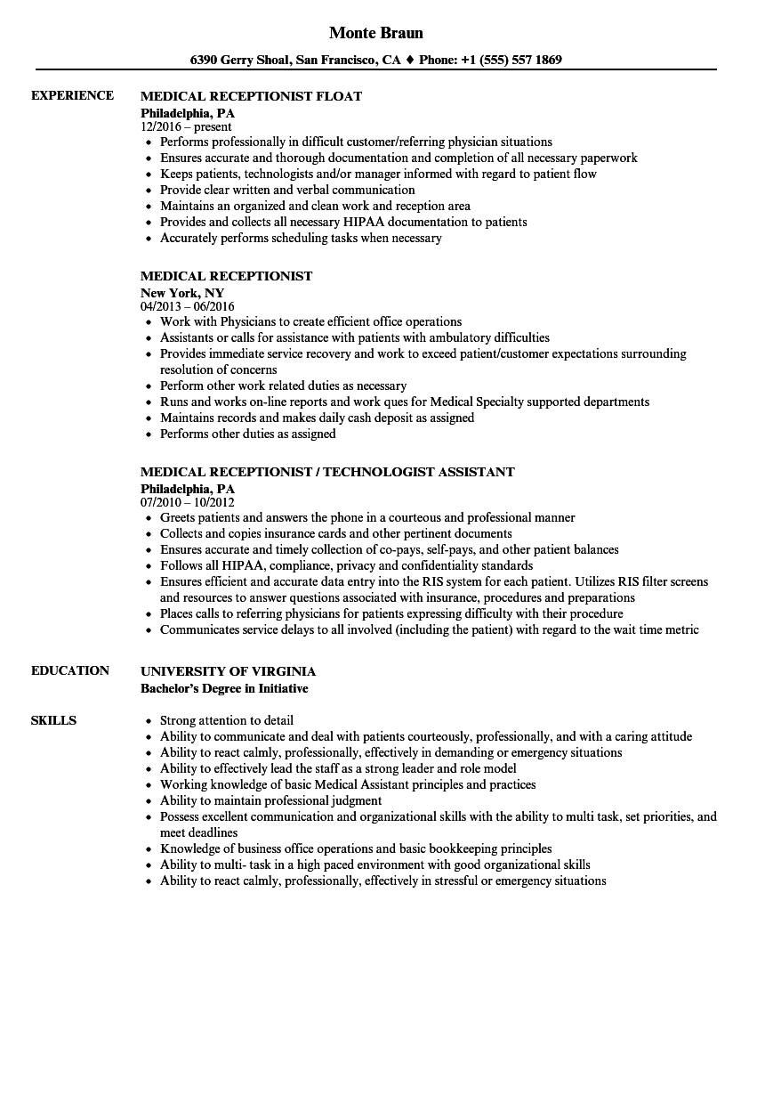 Medical Receptionist Resume Samples | Velvet Jobs