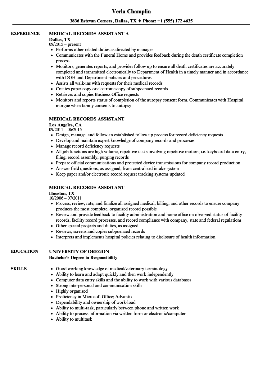 medical records assistant resume samples