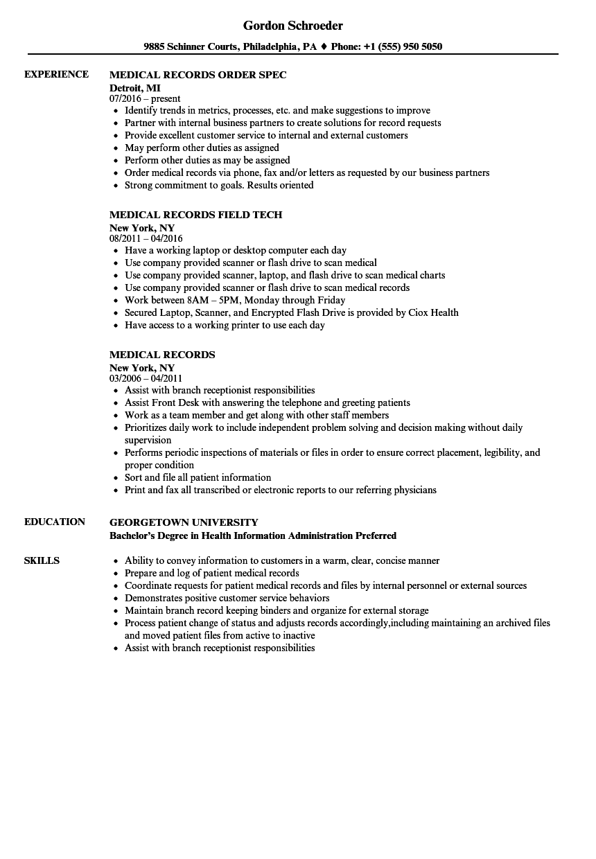 medical records resume samples