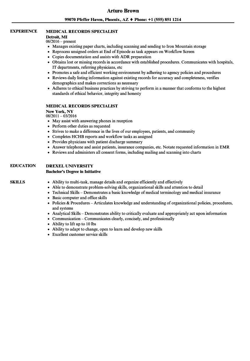 download medical records specialist resume sample as image file