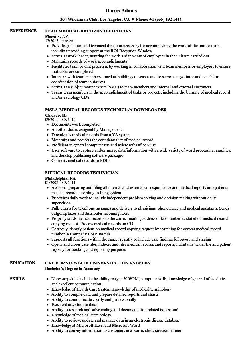 resume Medical Records Job Description Resume medical records technician resume samples velvet jobs download sample as image file
