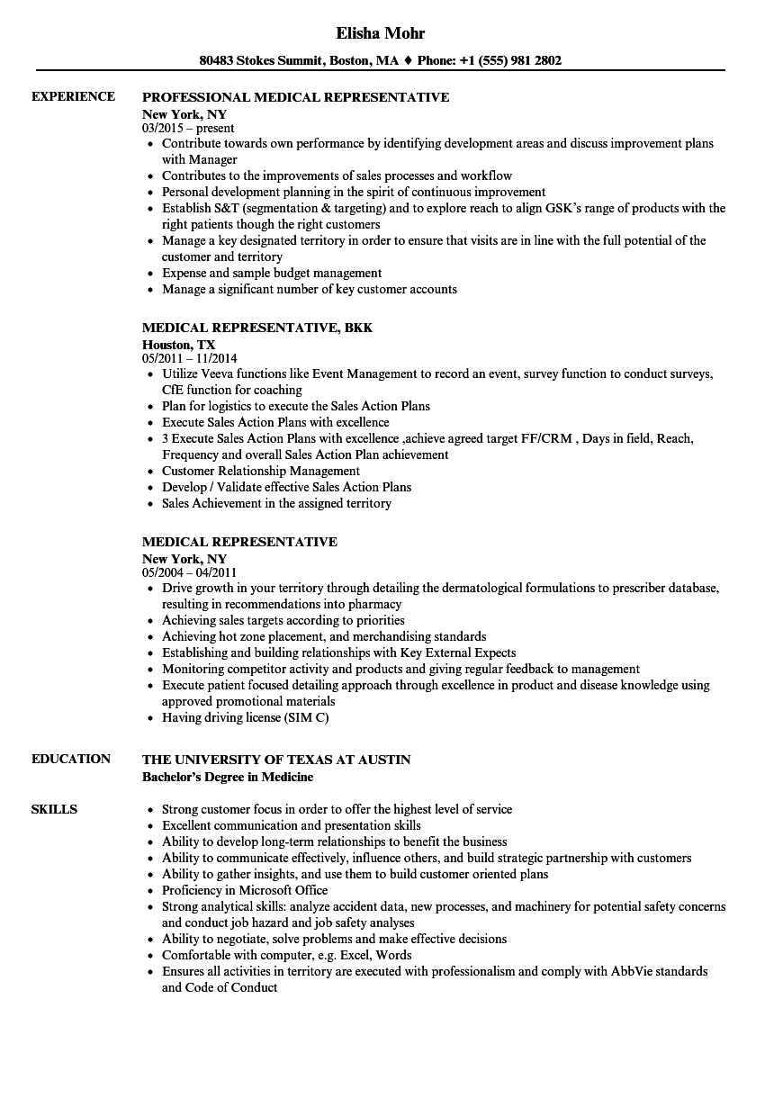 medical representative resume samples