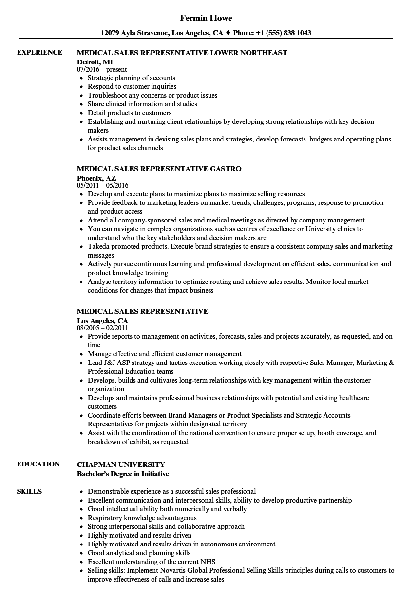 resume samples medical sales representative