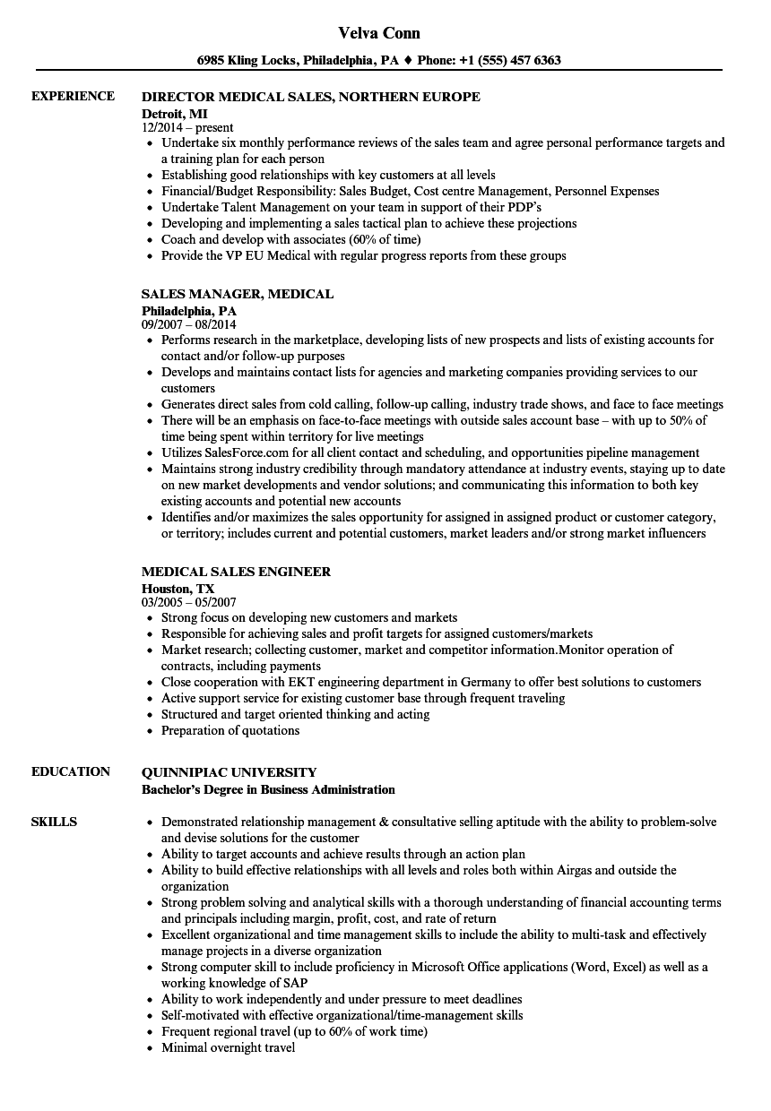 Medical Sales Resume Samples | Velvet Jobs