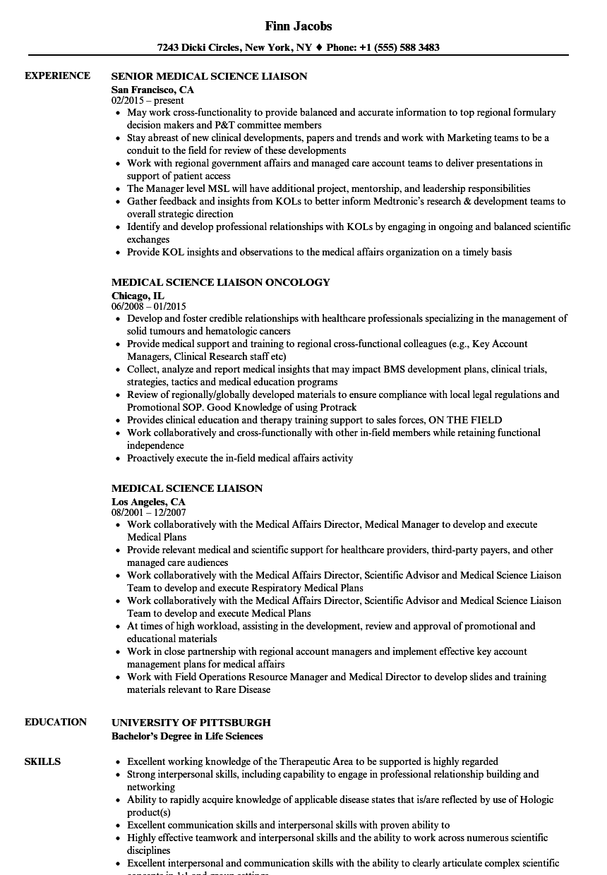 download medical science liaison resume sample as image file - Resume Medical Science Liaison