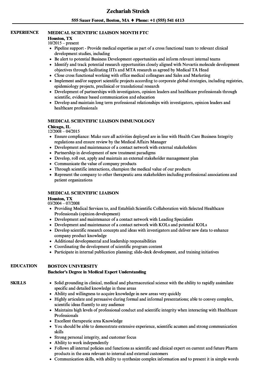 sample resume medical liaison
