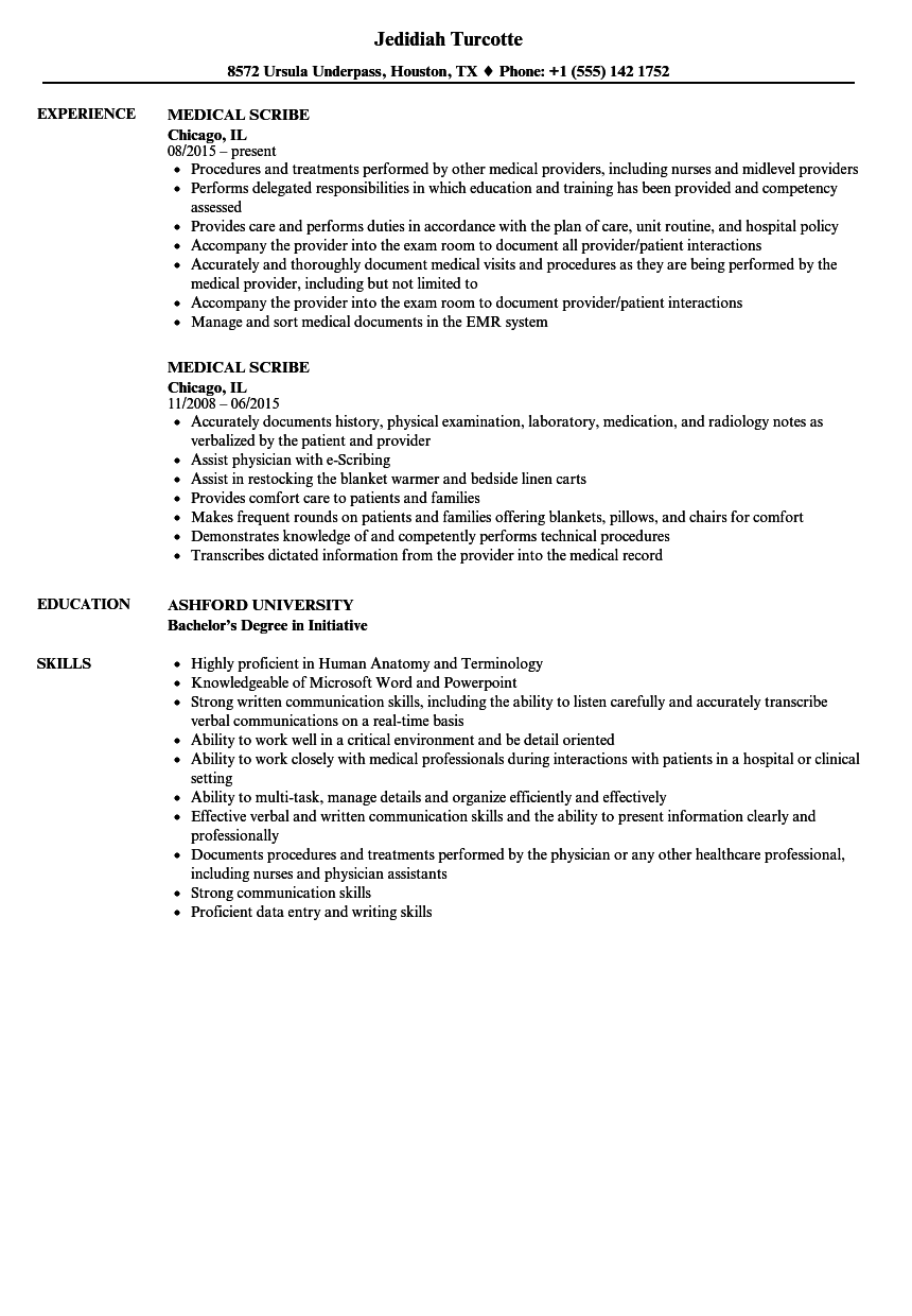 Medical Scribe Resume Samples | Velvet Jobs