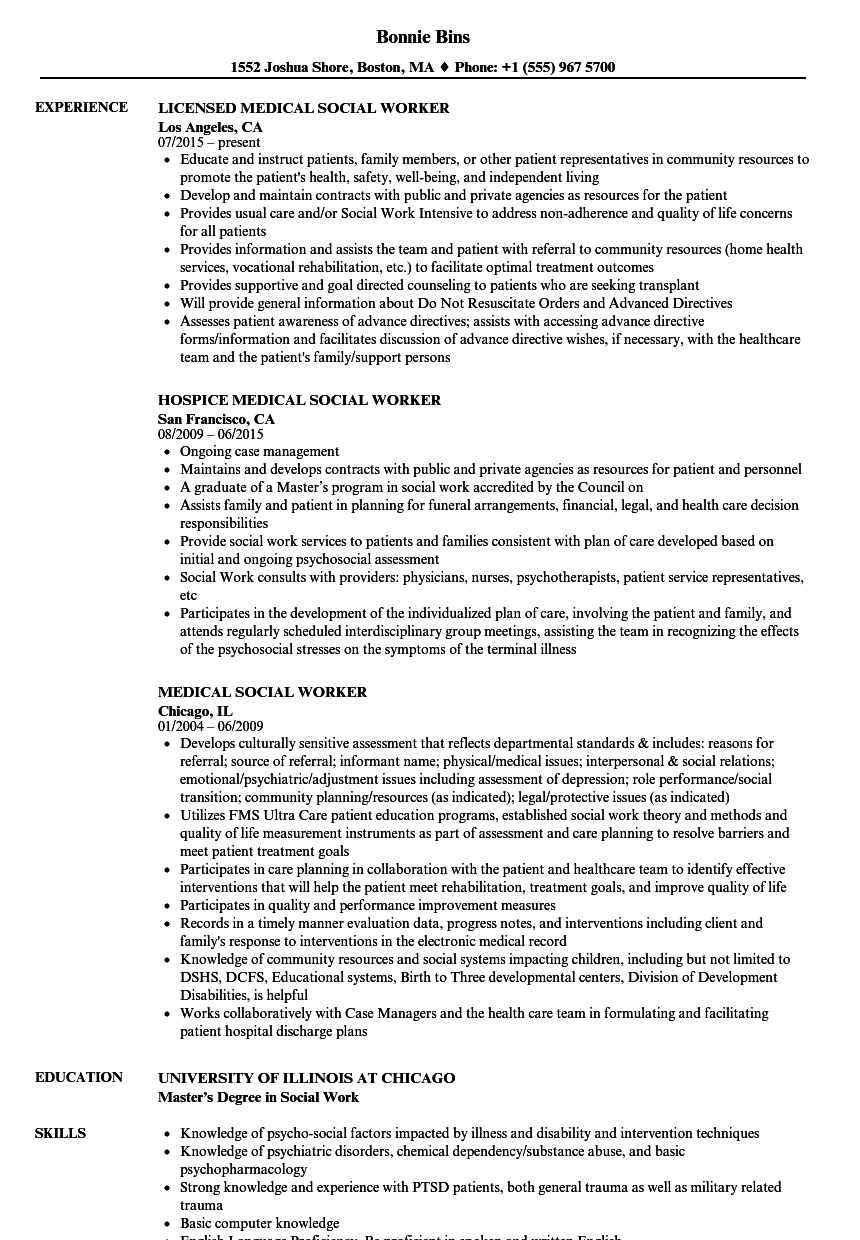 Medical Social Worker Resume Samples Velvet Jobs