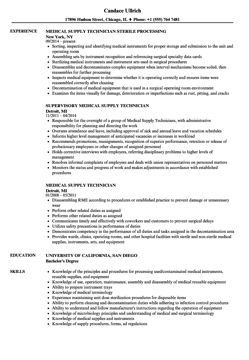 Medical Supply Technician Resume Samples | Velvet Jobs