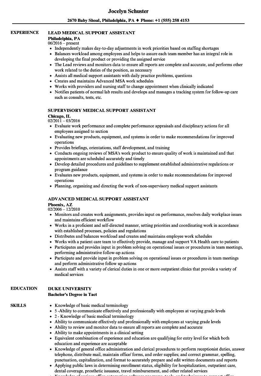 resume Medical Support Assistant Resume medical support assistant resume samples velvet jobs download sample as image file