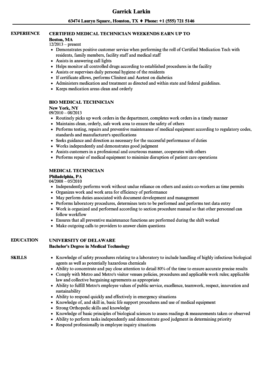 Medical Technician Resume Samples | Velvet Jobs