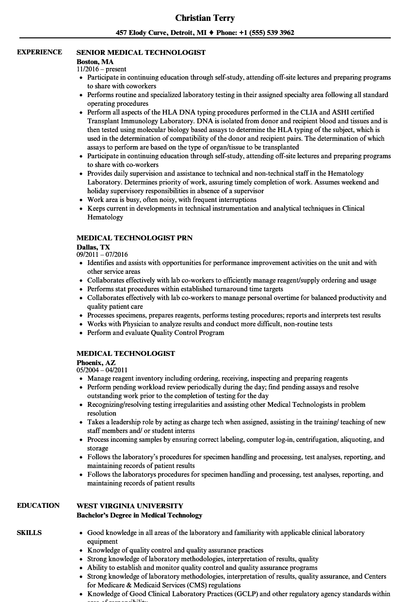 medical technologist resume samples velvet jobs - Medical Technologist Resume