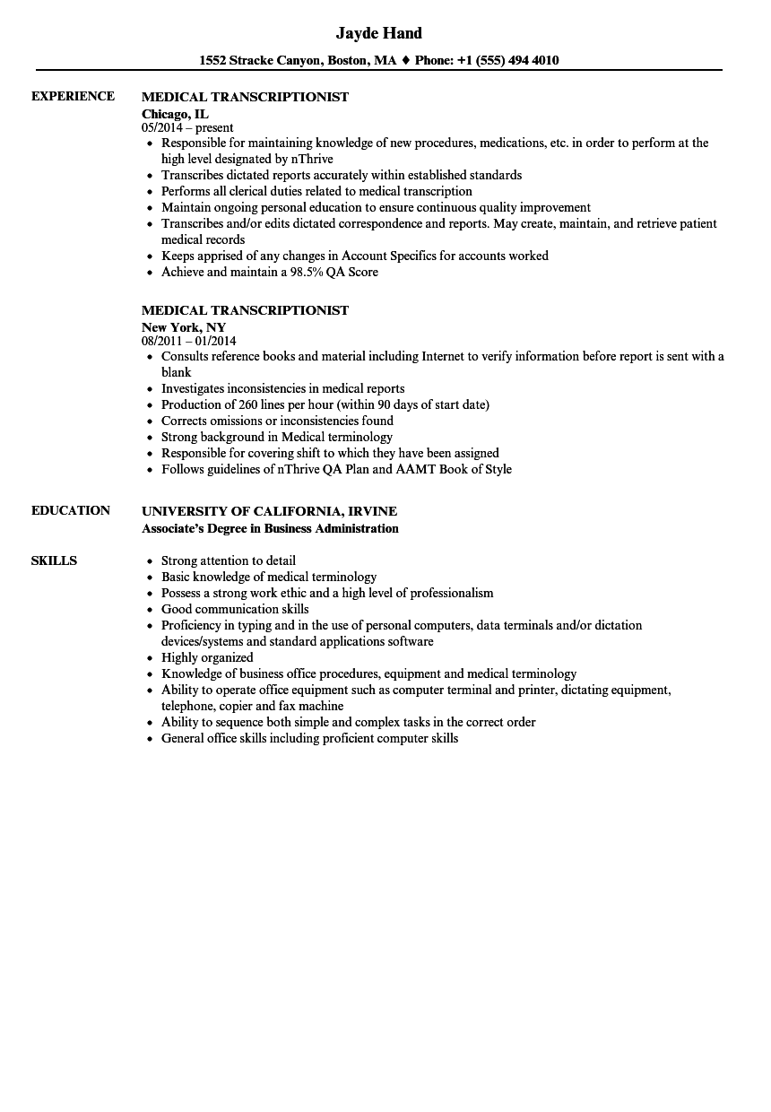 sample medical transcription resume